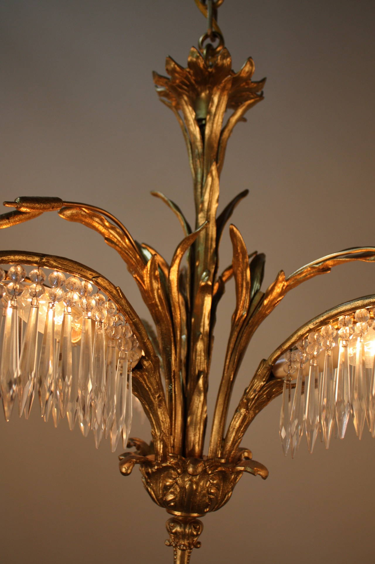 Bronze And Crystal Chandelier Flush Mount By Bagu 232 S At 1stdibs