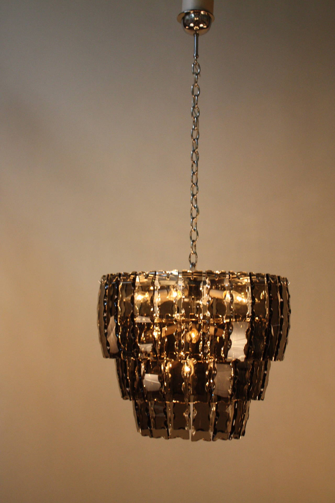 Fantastic 1970s Chandelier In The Fontana Arte Style At 1stdibs