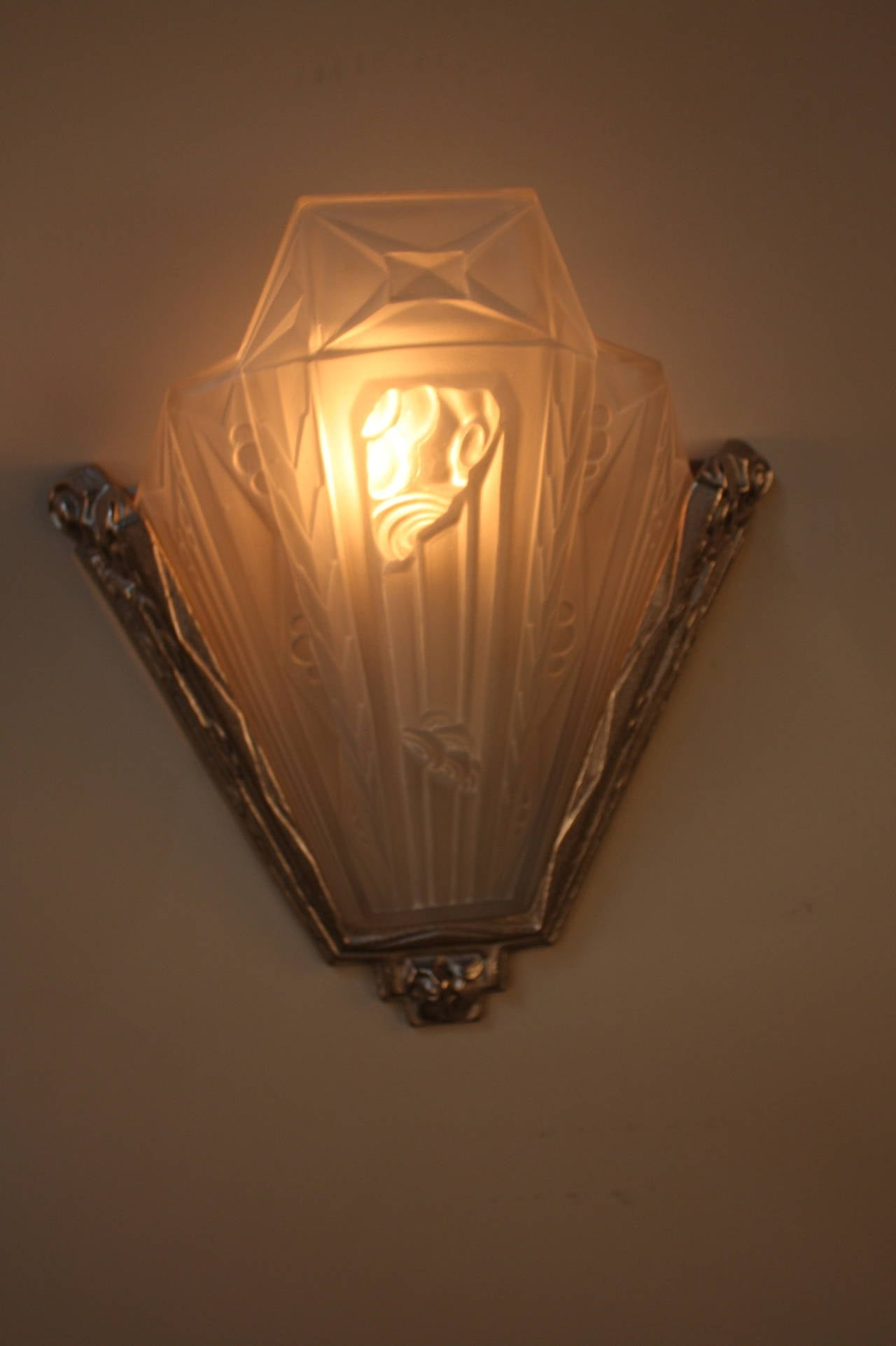 Pair of French Glass and Nickel Art Deco Wall Sconces at 1stdibs
