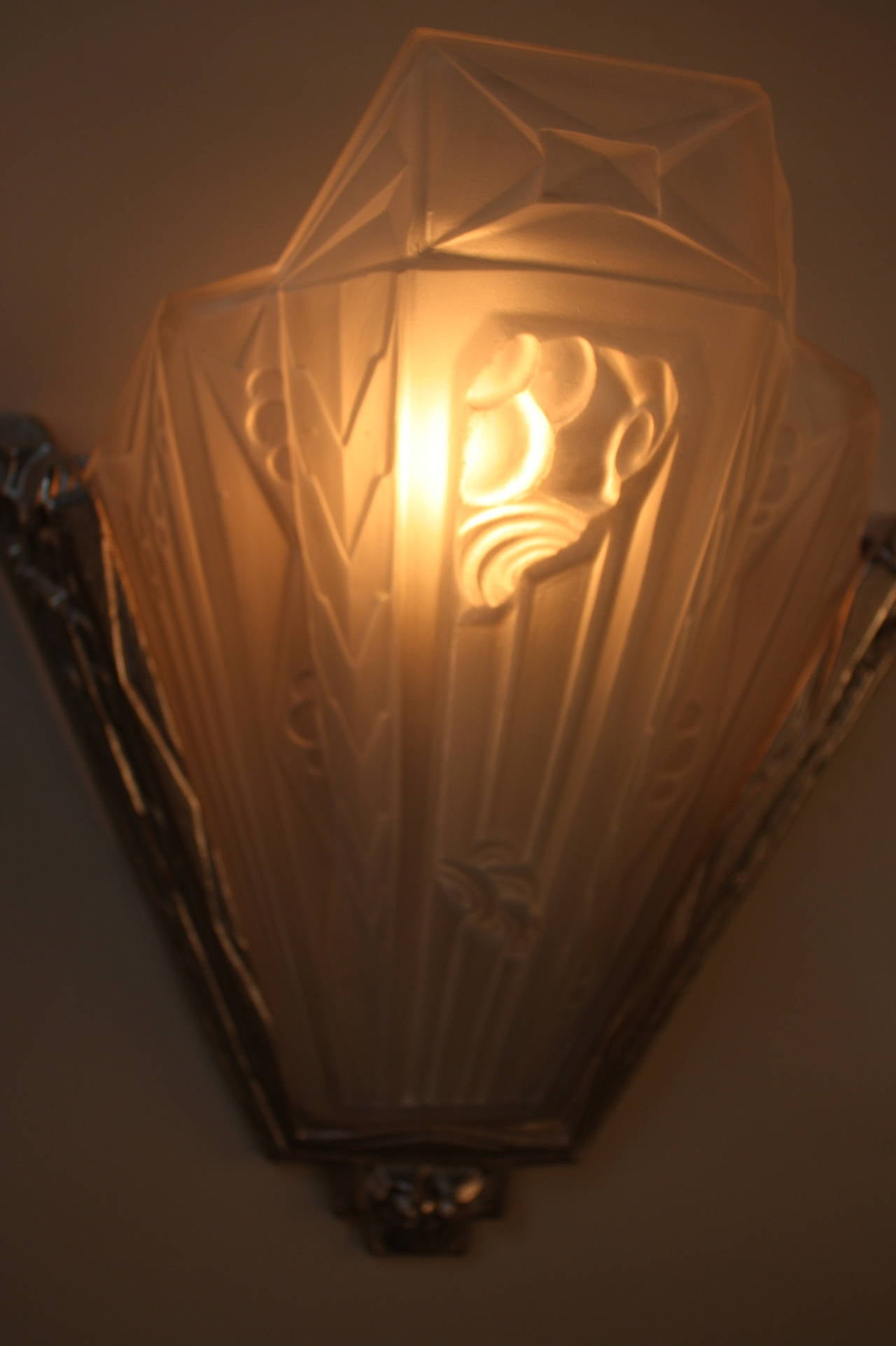 Wall Sconces Art Glass : Pair of French Glass and Nickel Art Deco Wall Sconces at 1stdibs