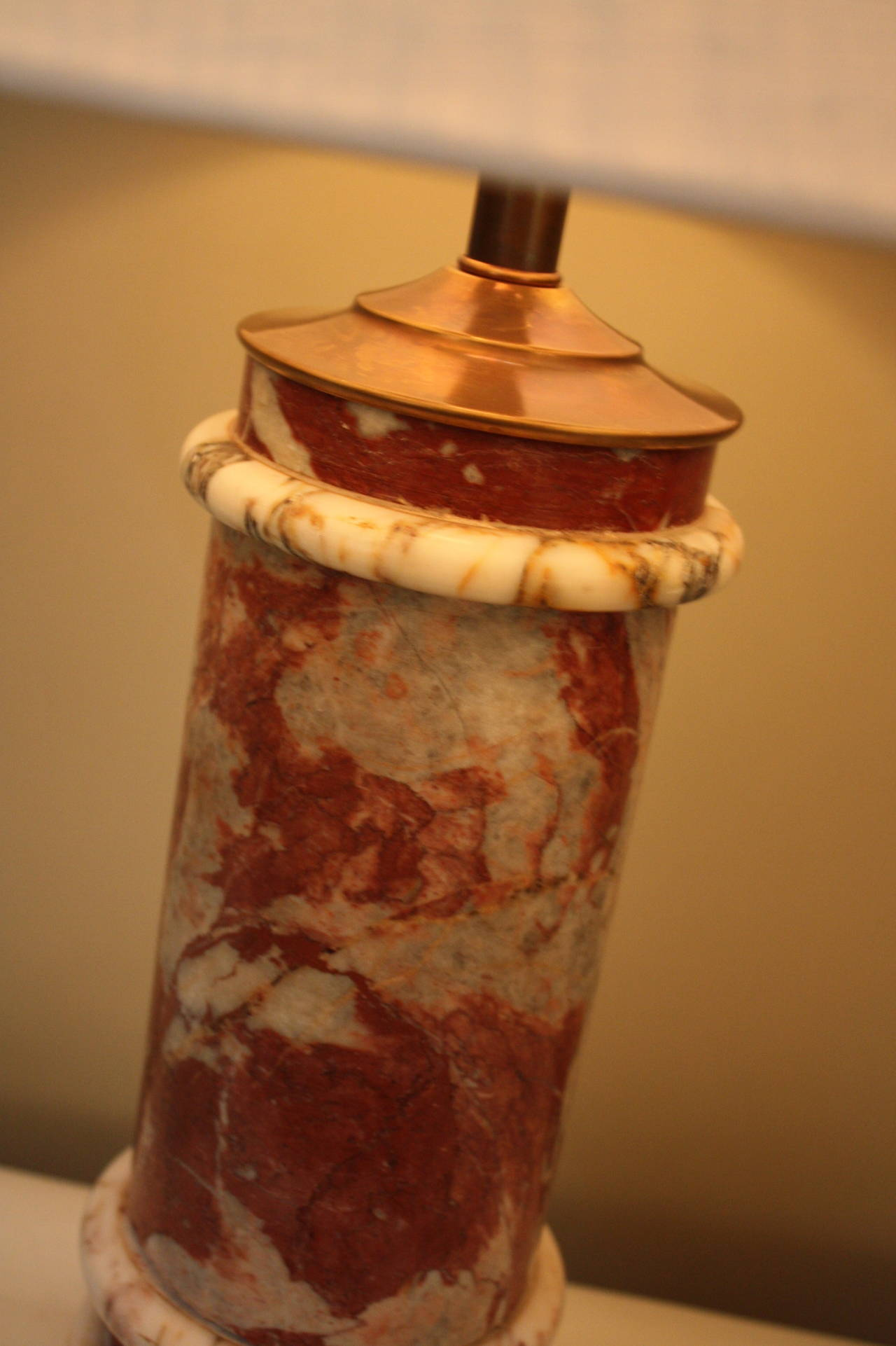 Mid century ginger jar lamp pair at 1stdibs - Classic Red And White Marble Column French Table Lamp At