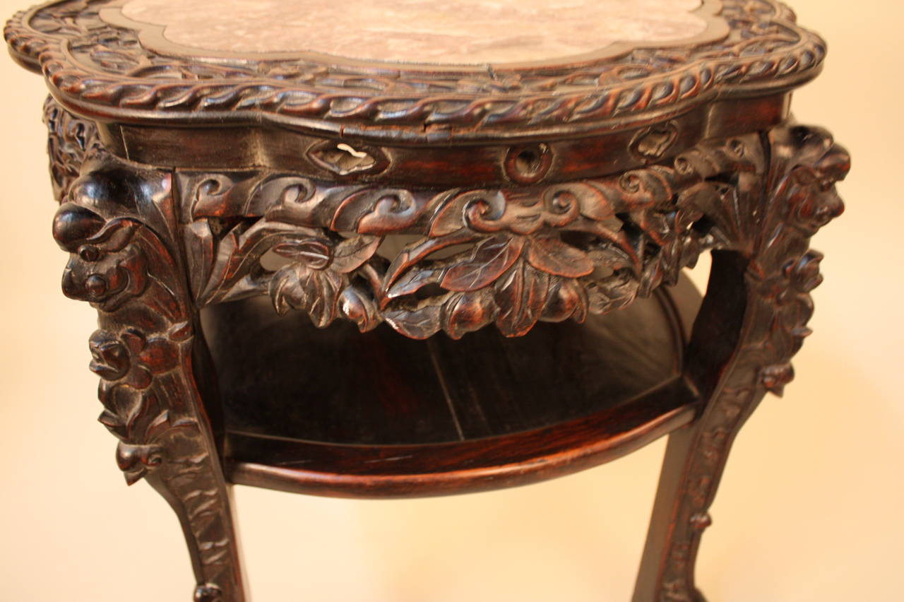 Antique Chinese Table Or Pedestal Carved Rosewood With