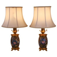 Pair Of Electrified 19th c. Table Lamps