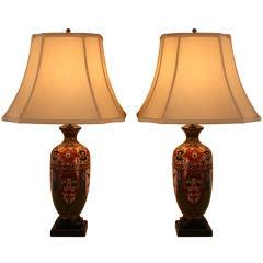Pair Cloisonne Table Lamps