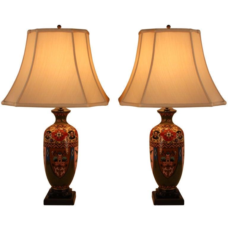 pair cloisonne table lamps at 1stdibs. Black Bedroom Furniture Sets. Home Design Ideas