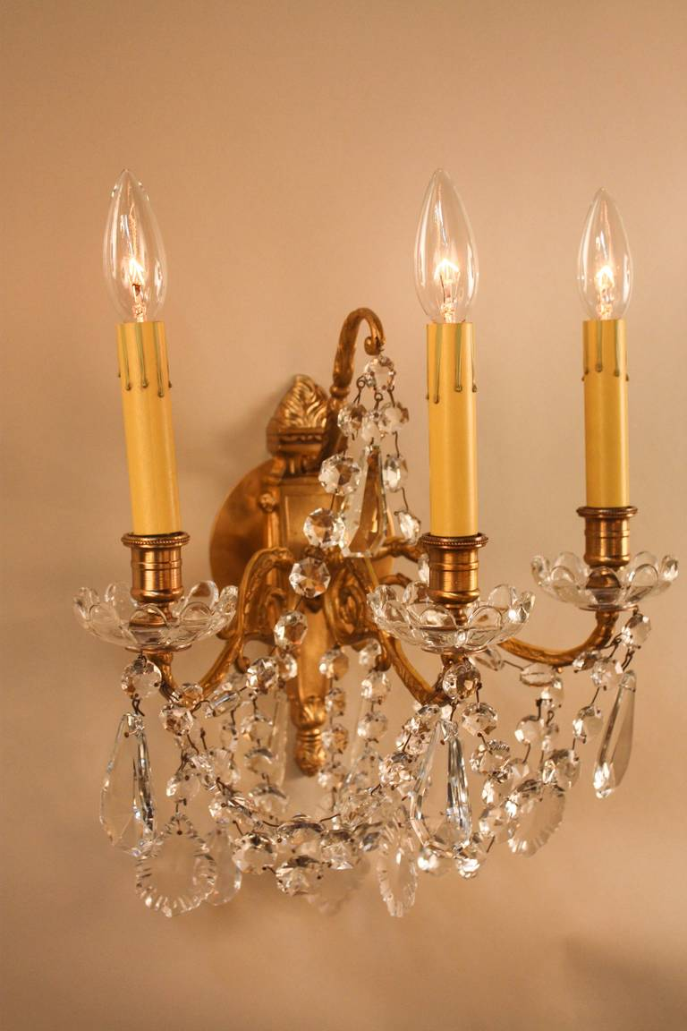 French Crystal Wall Sconces : 1930s French Crystal Wall Sconces at 1stdibs