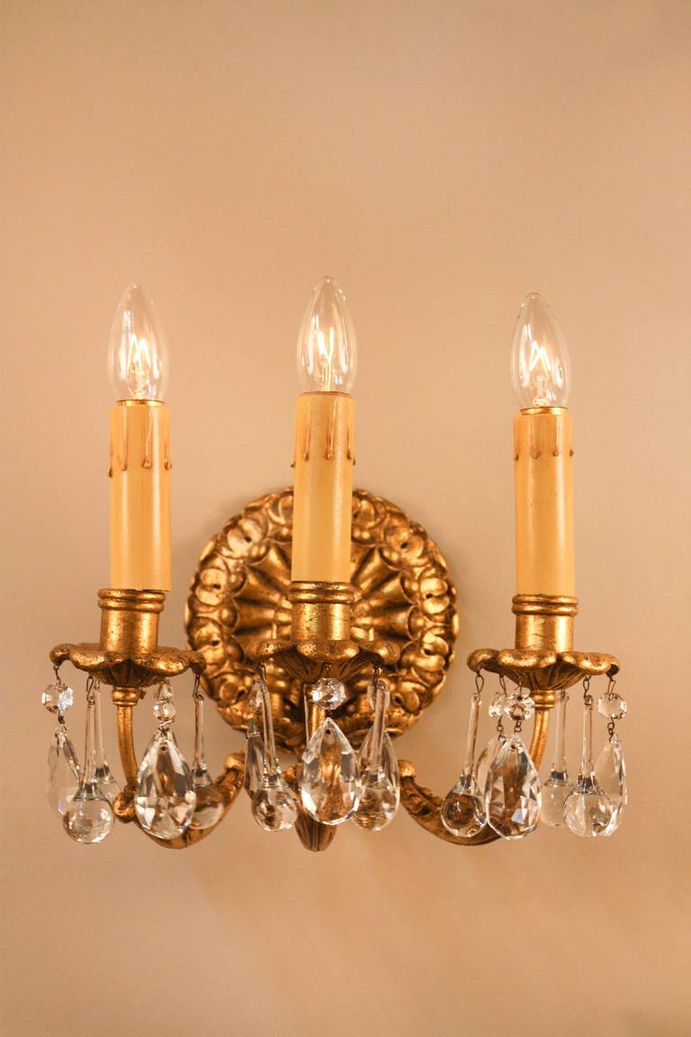 Wall Sconces Gold : Italian Gold Leaf Wall Sconces at 1stdibs