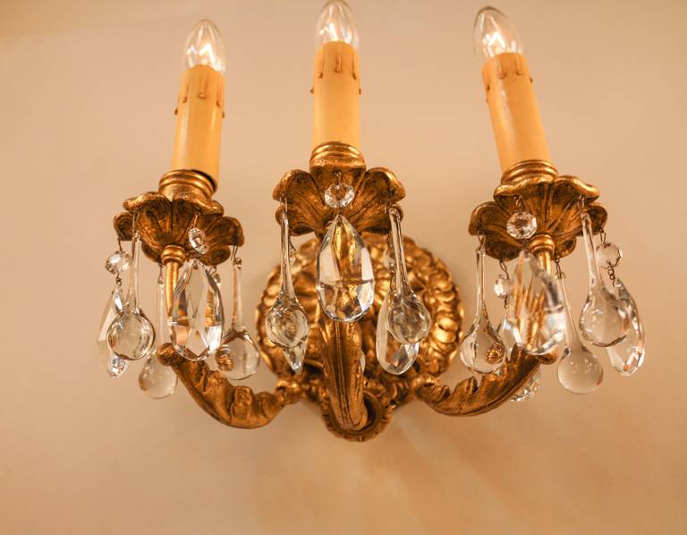 Italian Gold Leaf Wall Sconces at 1stdibs
