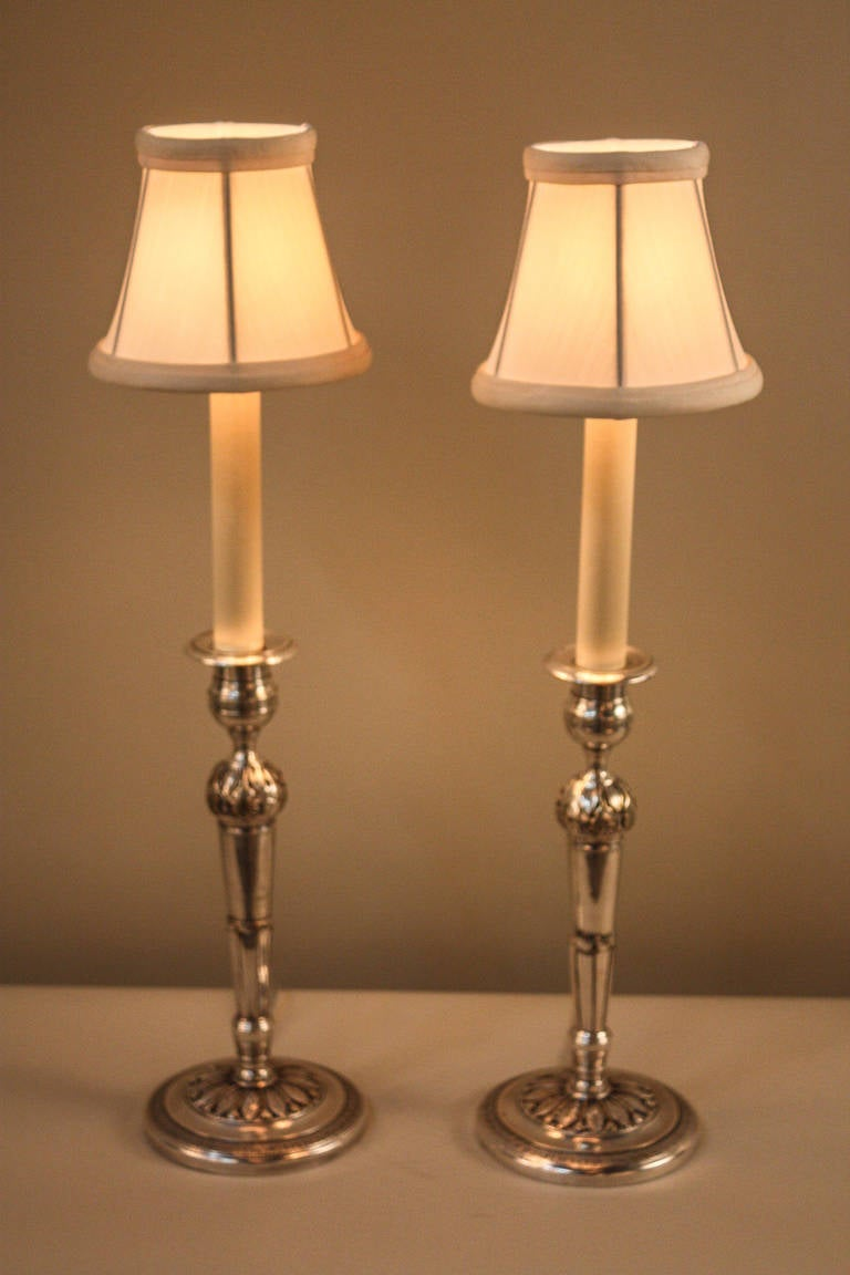 Pair of silver candlestick lamps at 1stdibs for Taliesin 1 table lamp