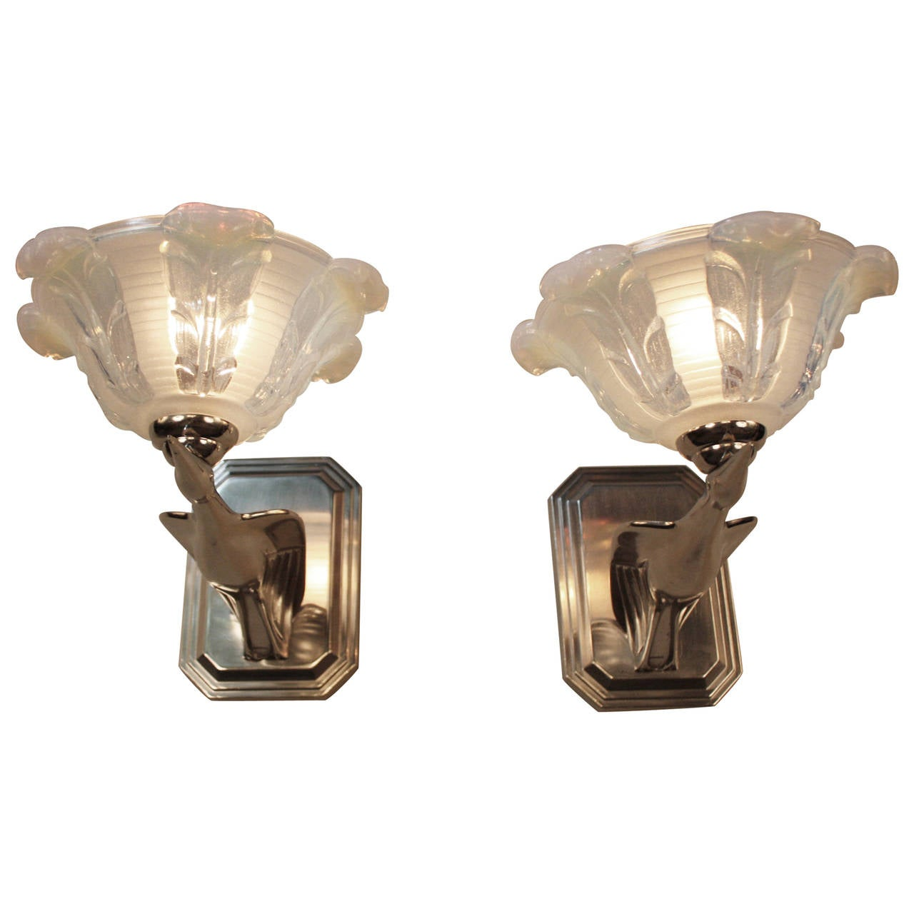 French Art Deco Nickel Wall Sconces in Flying Motion and Opalescent Shades at 1stdibs