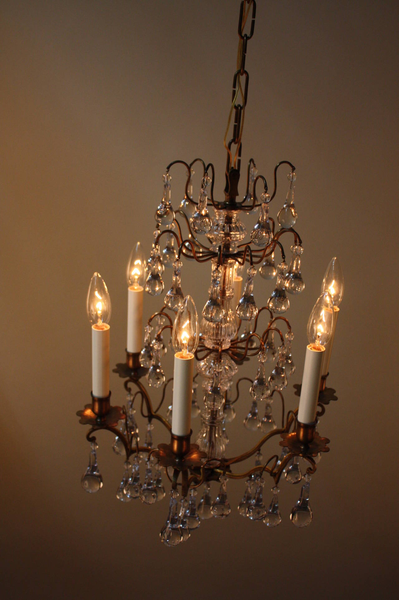 French 1930s Chandelier With Raindrops Crystals At 1stdibs