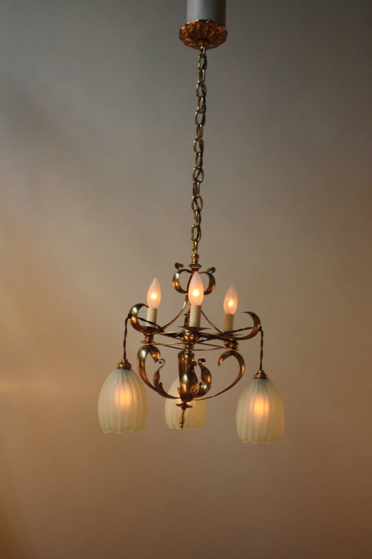 English Arts and crafts Art Nouveau Brass chandelier by Benson