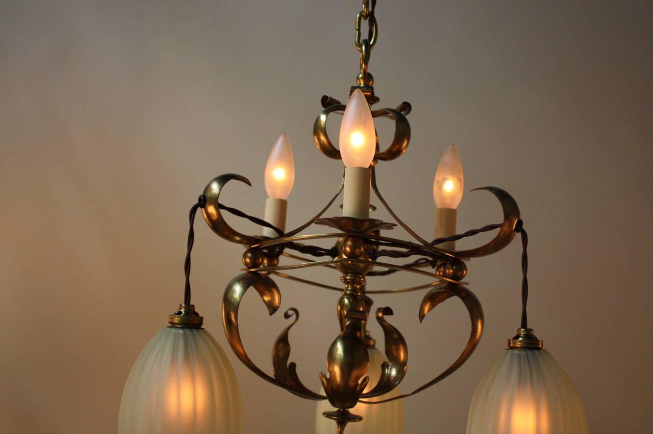 English arts and crafts art nouveau brass chandelier by for Arts and crafts chandelier
