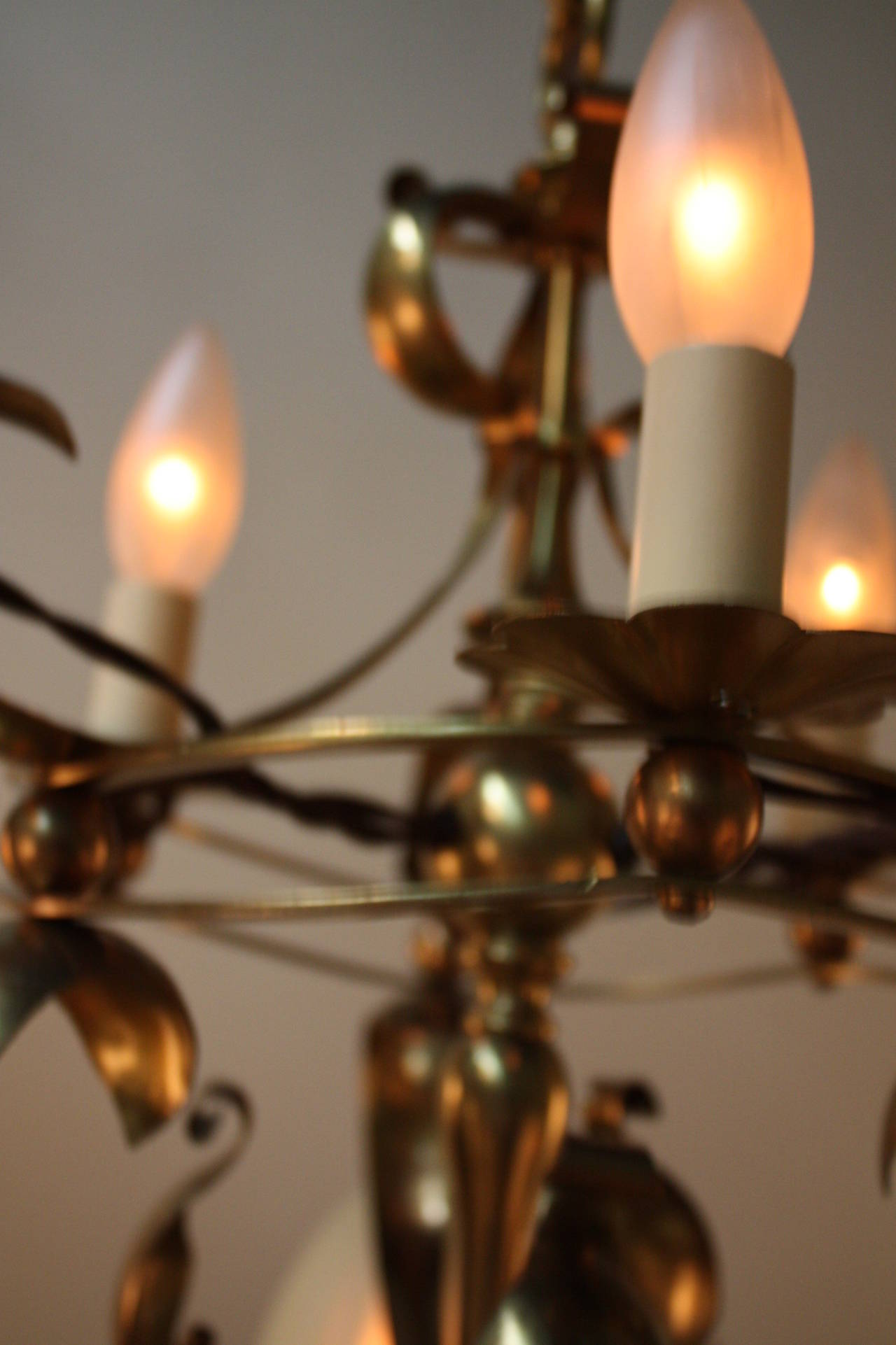 English Arts and crafts Art Nouveau Brass chandelier by