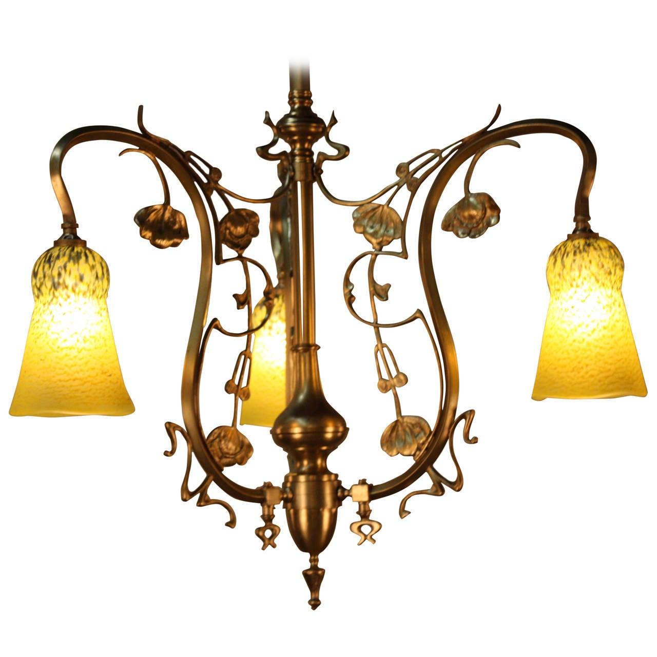 French electrified gas art nouveau chandelier at 1stdibs for Chandelier art nouveau