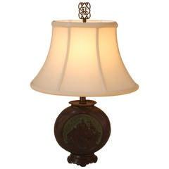 Oriental Oval Shape Bronze Table Lamp