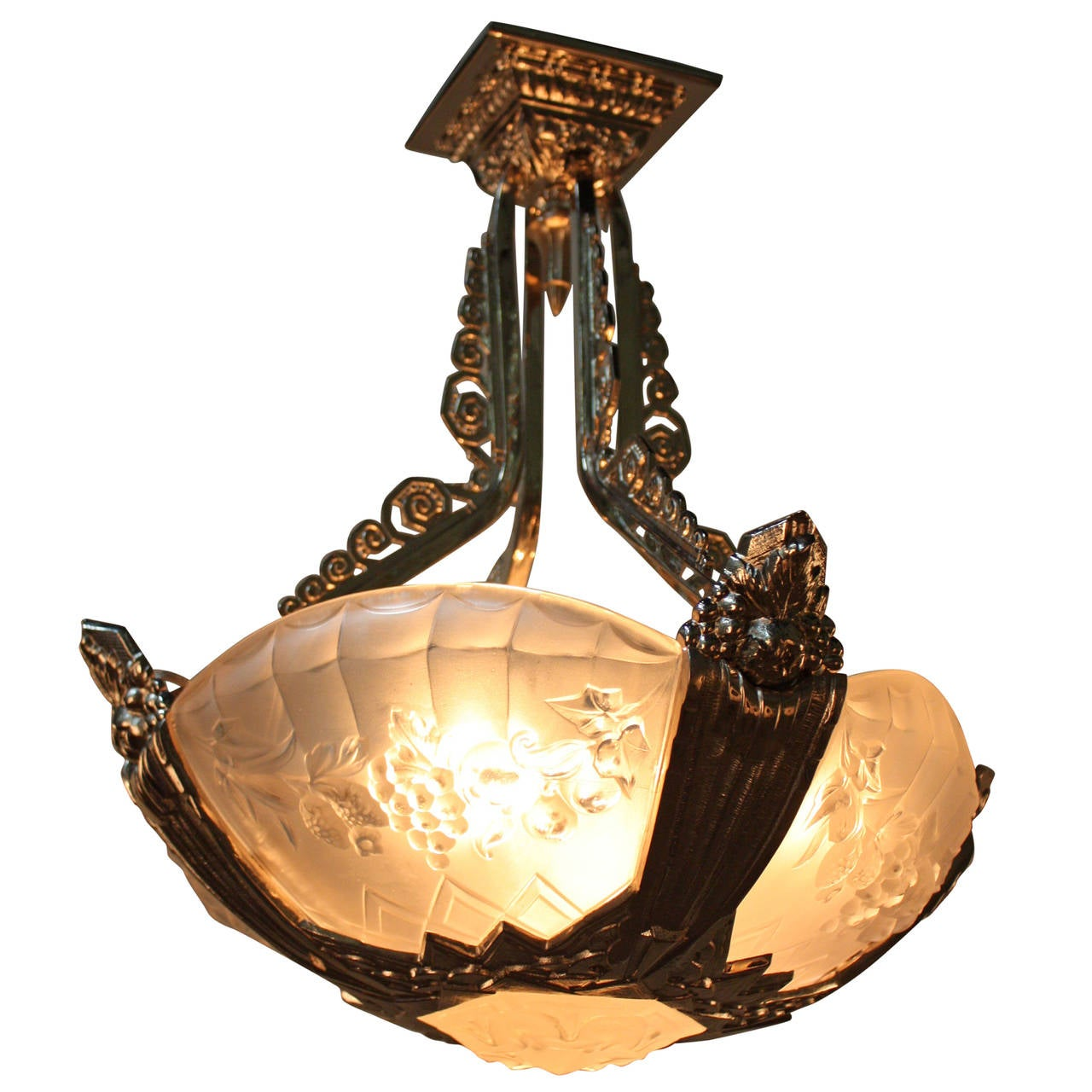 1930s French Art Deco Chandelier by Gilles