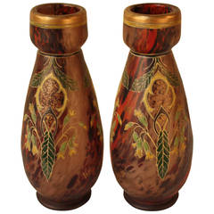 Pair of Hand-Painted Blown Glass Vases by Legras