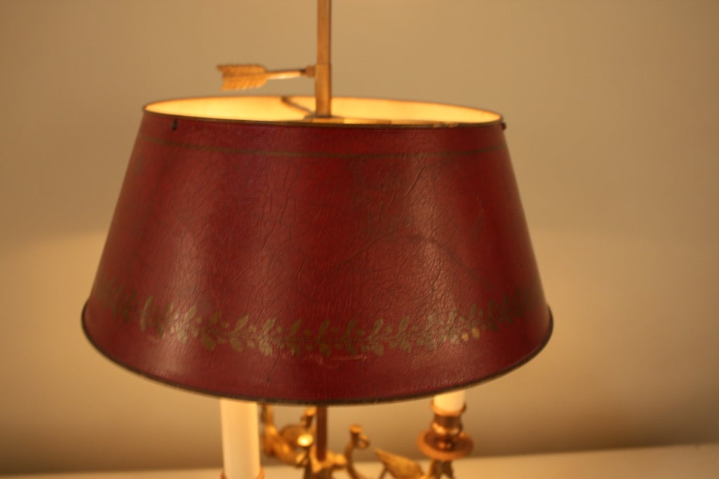 BEAUTIFUL FRENCH BRONZE BOUILLOTTE LAMP WITH 3 SWAN BRONZE ARMS