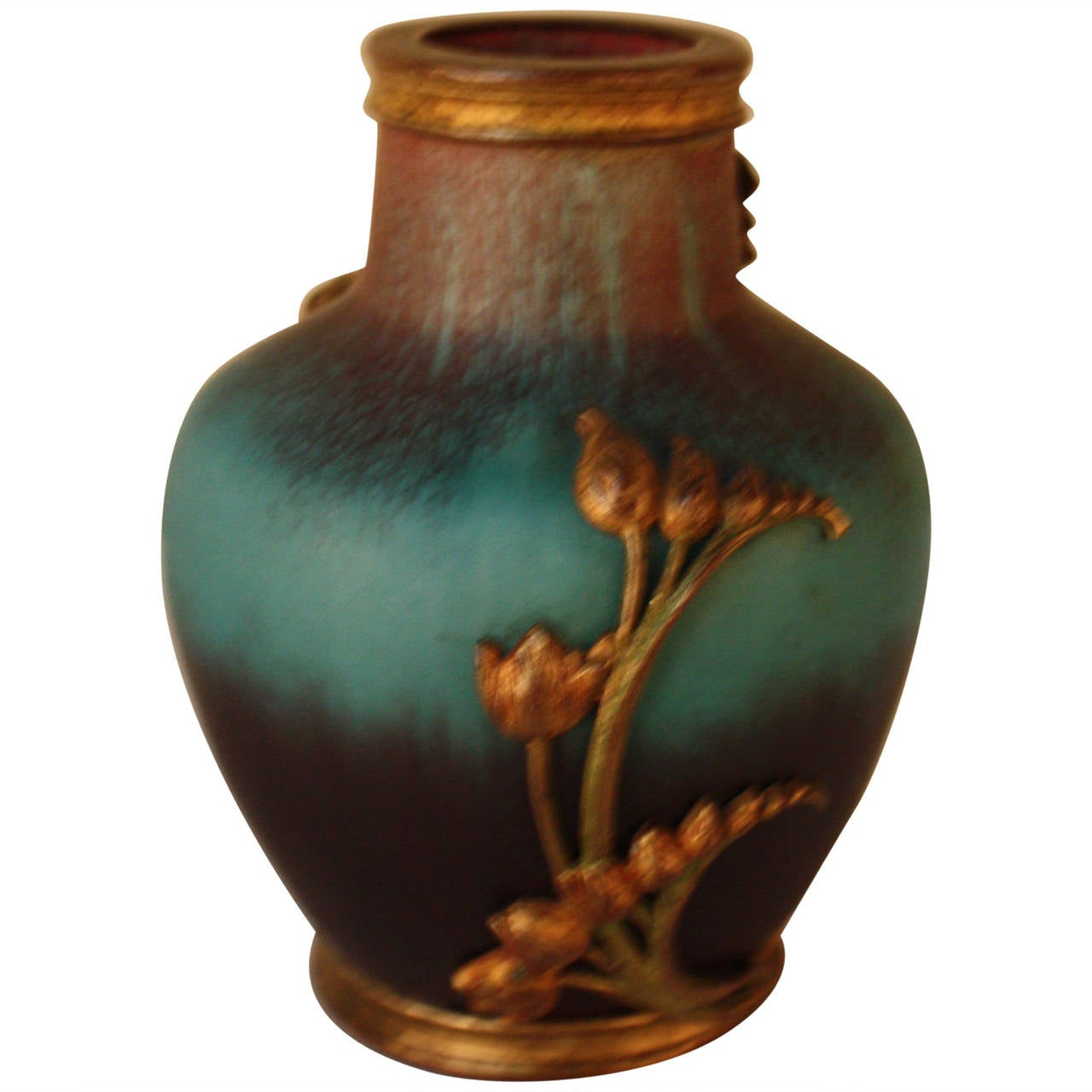 French Art Nouveau Pottery With Bronze Overlay At 1stdibs