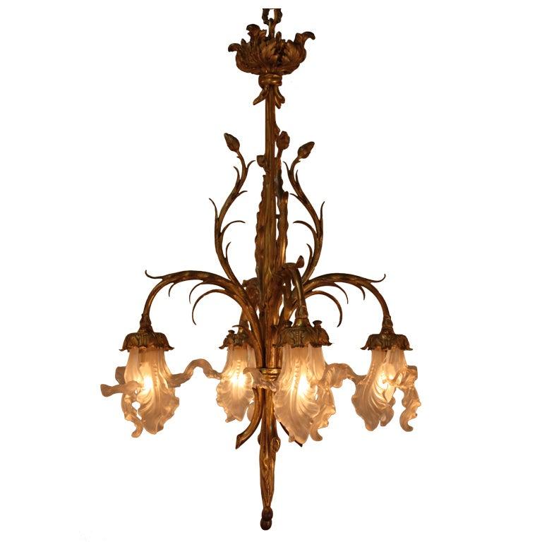 Art nouveau bronze chandelier at 1stdibs for Chandelier art nouveau