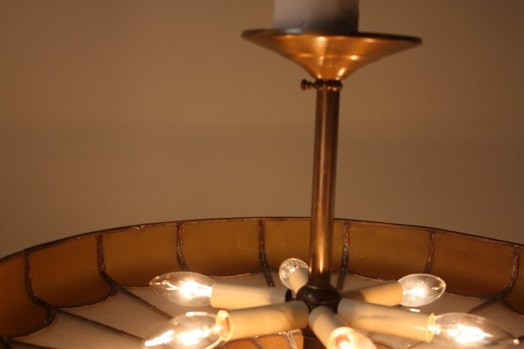 Beige Stained Glass Tiffany Threelight Semi Flush Mount
