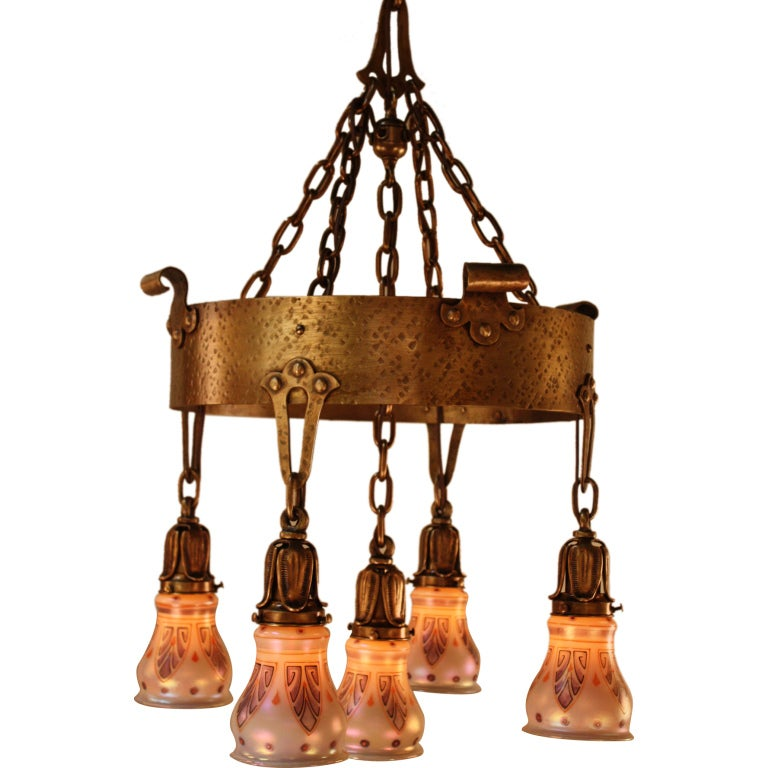 American arts and crafts chandelier at 1stdibs for Arts and crafts chandelier