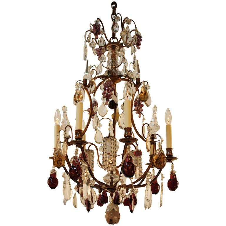 1930s, French Crystal Chandelier
