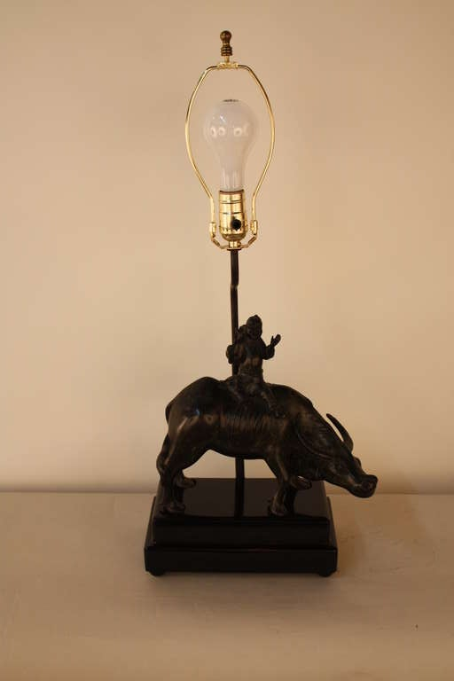 19th C Chinese Ox Bronze Table Lamp At 1stdibs