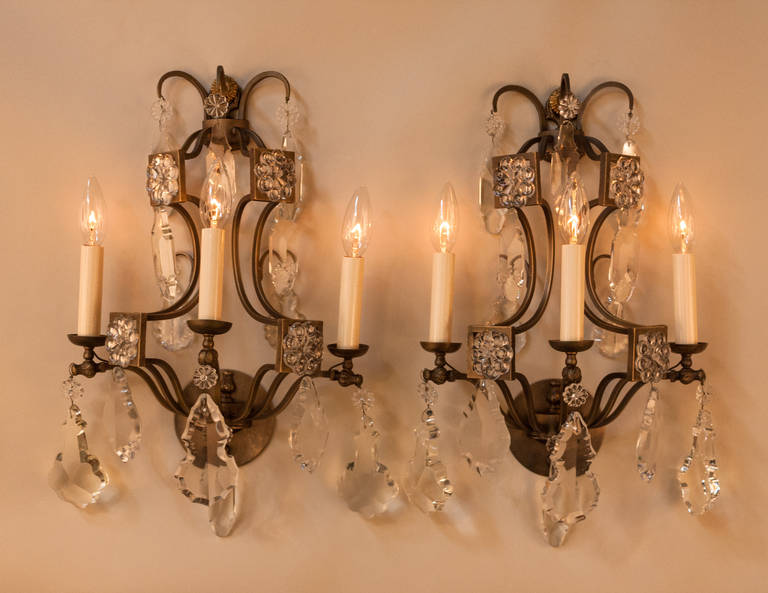 Pair of Crystal and Bronze Wall Sconces at 1stdibs