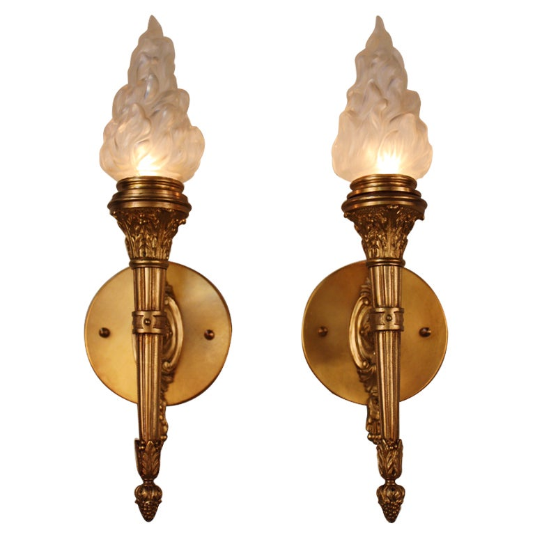 Pair of Bronze Torch Wall Sconces at 1stdibs