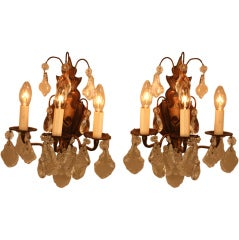 Crystal and Bronze Wall Sconces