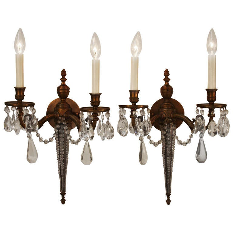 Wall Sconces With Crystal : French Bronze and Crystal Wall Sconces at 1stdibs
