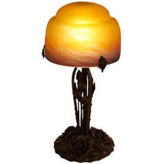 French Iron and Blown Glass Table Lamp by Muller Freres