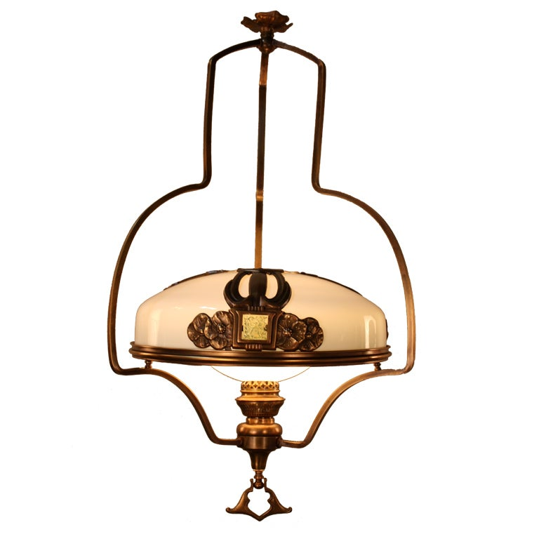 19th C. Electrified Oil Lamp Chandelier At 1stdibs