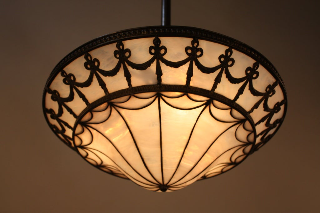 American Stained Glass Chandelier At 1stdibs