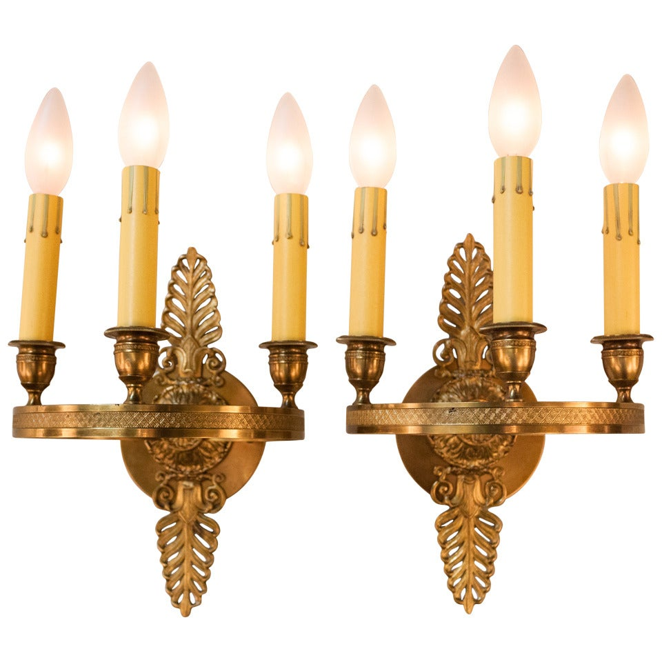 Wall Sconces Bronze : Pair of Bronze Wall Sconces at 1stdibs