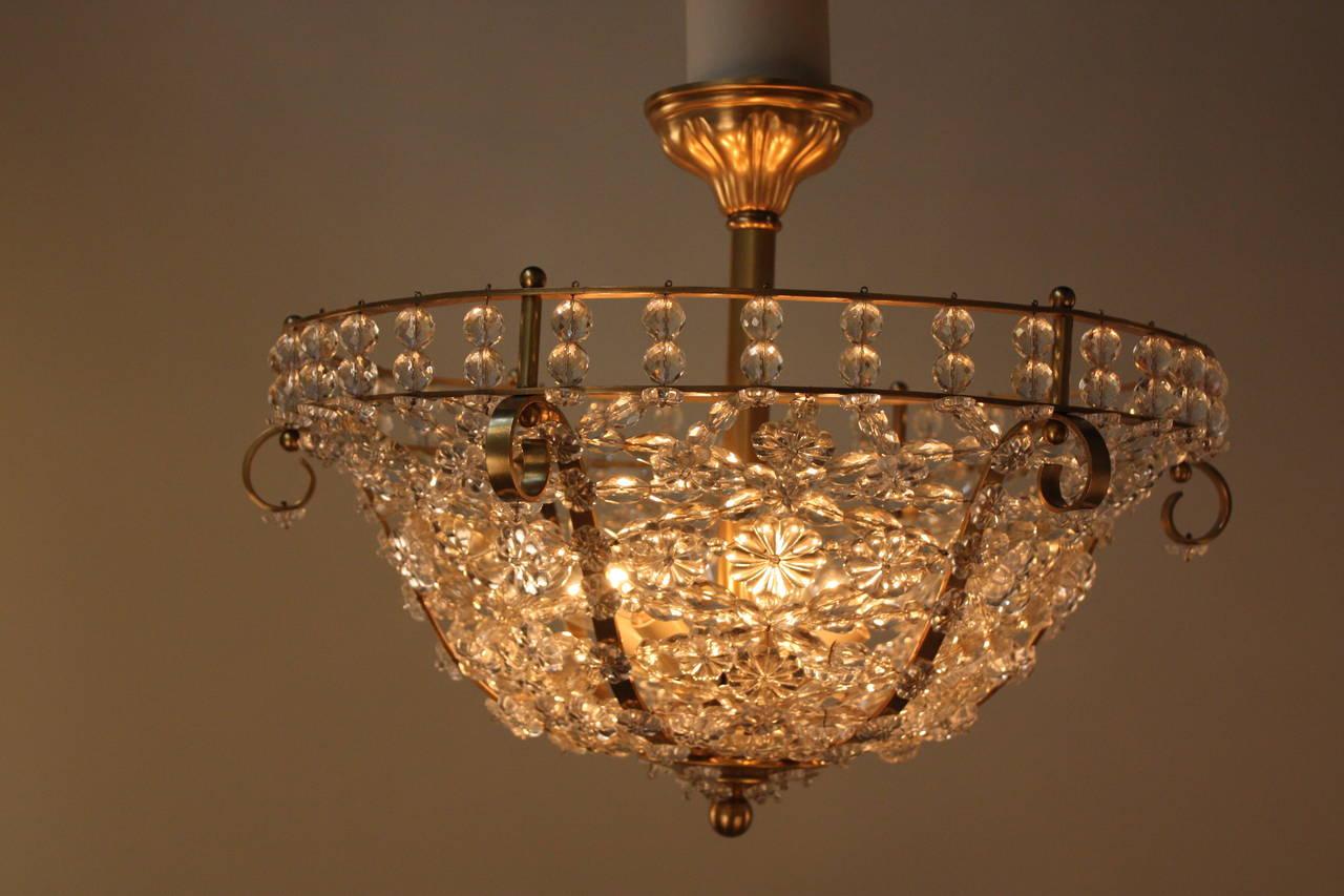 Semi flush mount crystal ceiling light at 1stdibs for Crystal ceiling lights flush mount
