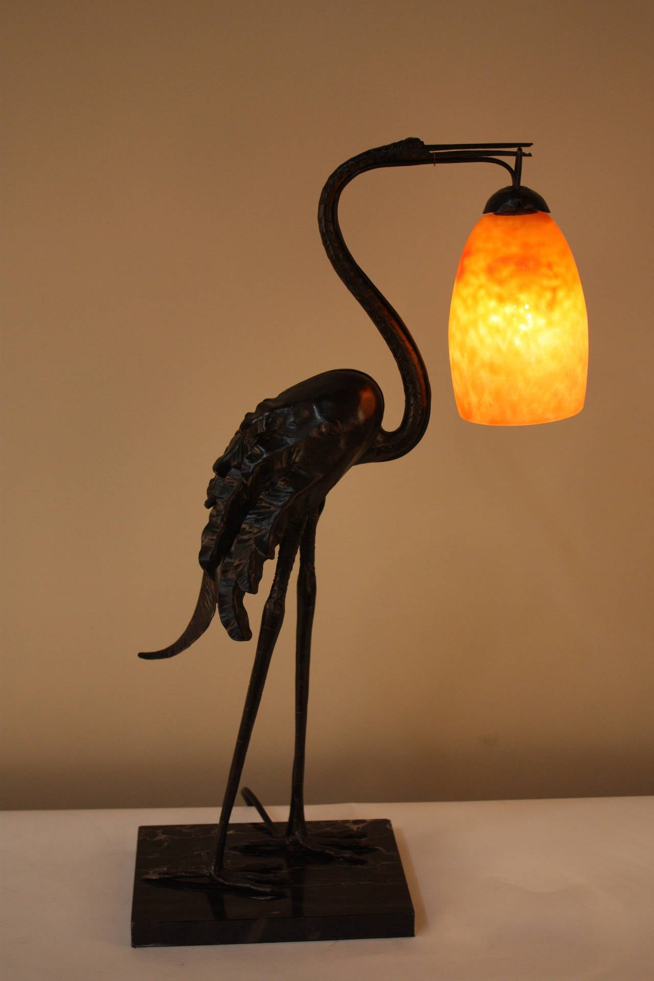 Handmade Wrought Iron Bird Lamp Daum Glass Shade Stdibs