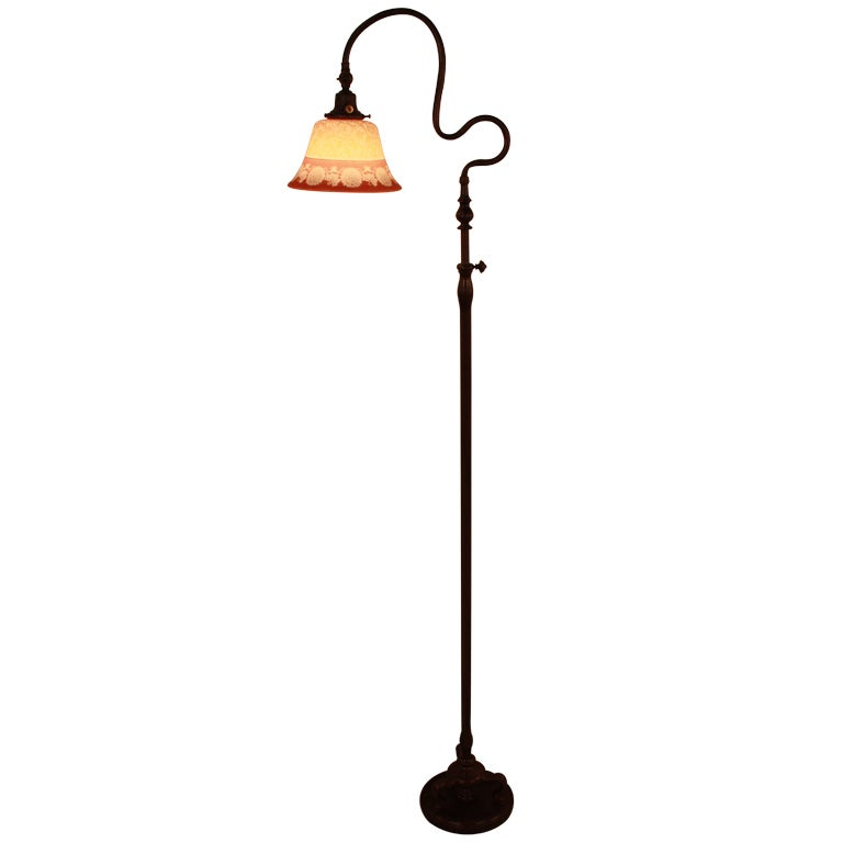 american bronze floor lamp with painted glass shade at 1stdibs. Black Bedroom Furniture Sets. Home Design Ideas