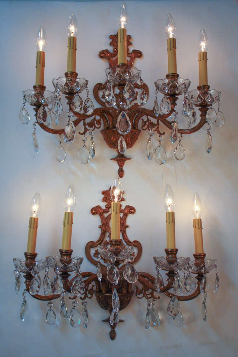 Wall Sconces En Espanol : Spanish Bronze and Crystal Wall Sconces at 1stdibs