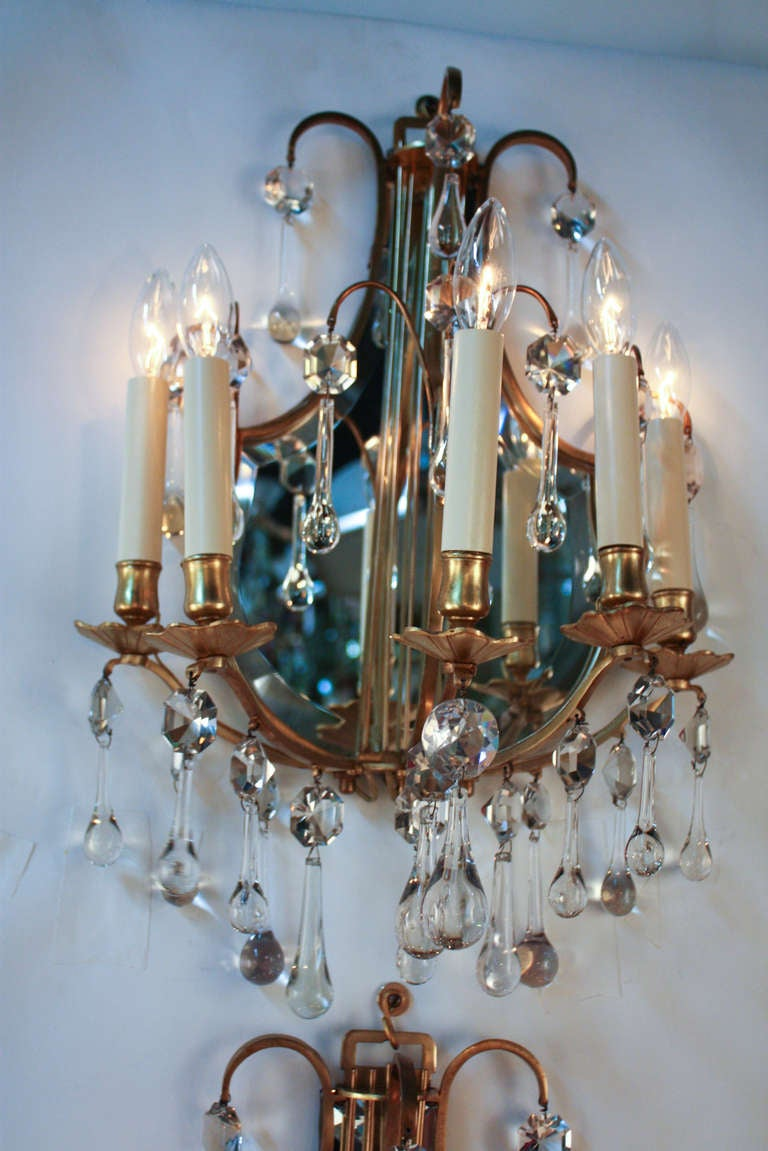 Wall Sconces Beside Mirror : Bronze Mirror Back Wall Sconces at 1stdibs