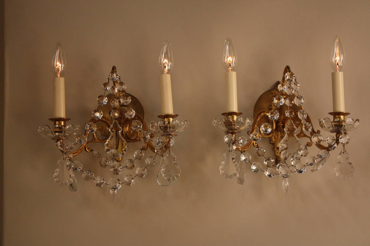French Crystal Wall Sconces : French Crystal Wall Sconces at 1stdibs