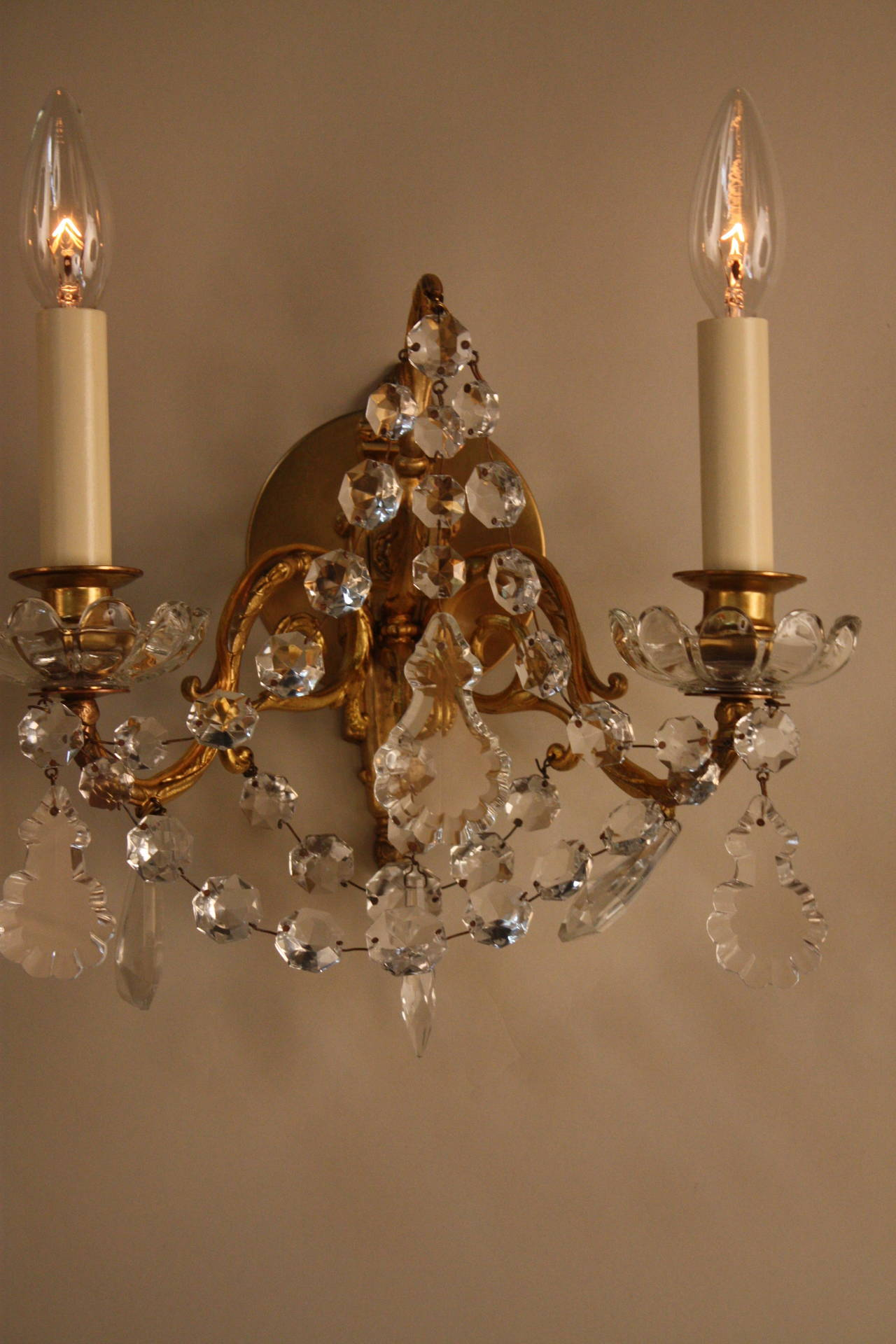 French Crystal Wall Sconces at 1stdibs