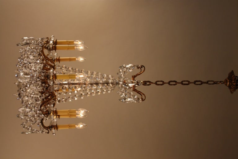 French Bronze And Crystal Chandelier For Sale 1