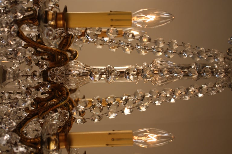 French Bronze And Crystal Chandelier For Sale 2