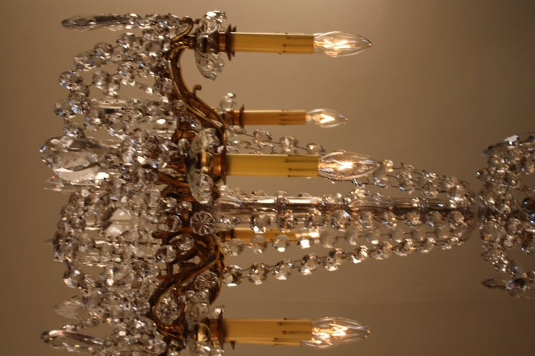 French Bronze And Crystal Chandelier For Sale 5
