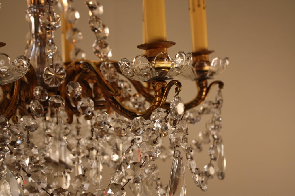 French Bronze And Crystal Chandelier For Sale 6