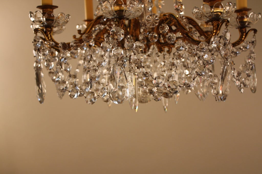 French Bronze And Crystal Chandelier For Sale 7