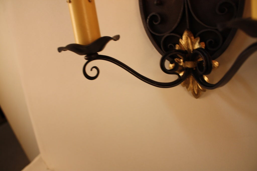 French Iron Wall Sconces : Two Pair of French Iron Wall Sconces For Sale at 1stdibs